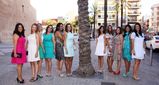 Candidates a Cort d'Honor i Falleres Majors de 2014, als peus de la Torre
